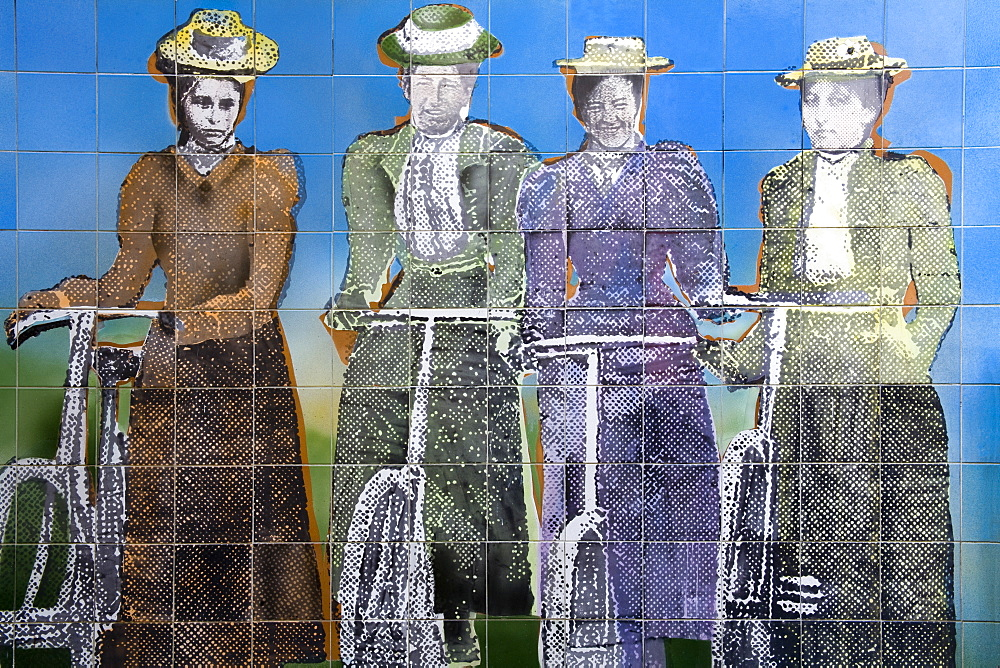 Women's Suffrage tile mural outside the Auckland Art Gallery, Auckland, North Island, New Zealand, Pacific