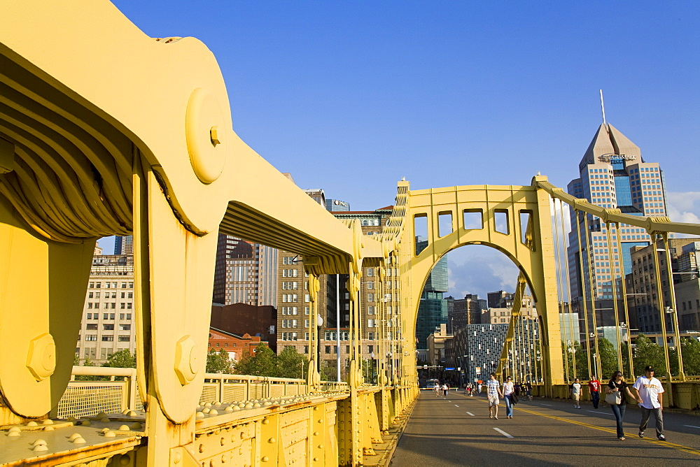 Roberto Clemente Bridge (6th Street Bridge) over the Allegheny River, Pittsburgh, Pennsylvania, United States of America, North America