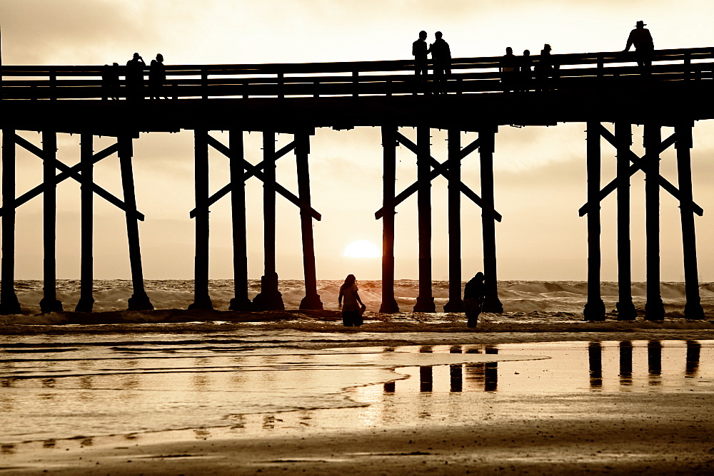 Pier at sunset, Newport Beach, Orange County, California, United States of America, North America