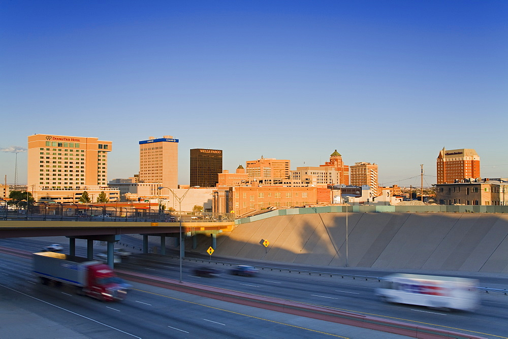 Interstate 10 and El Paso skyline, El Paso, Texas, United States of America, North America