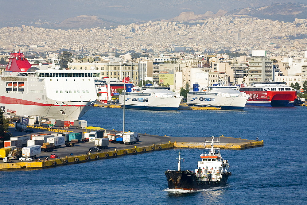 Oil tanker in the Port of Piraeus, Athens, Greece, Europe