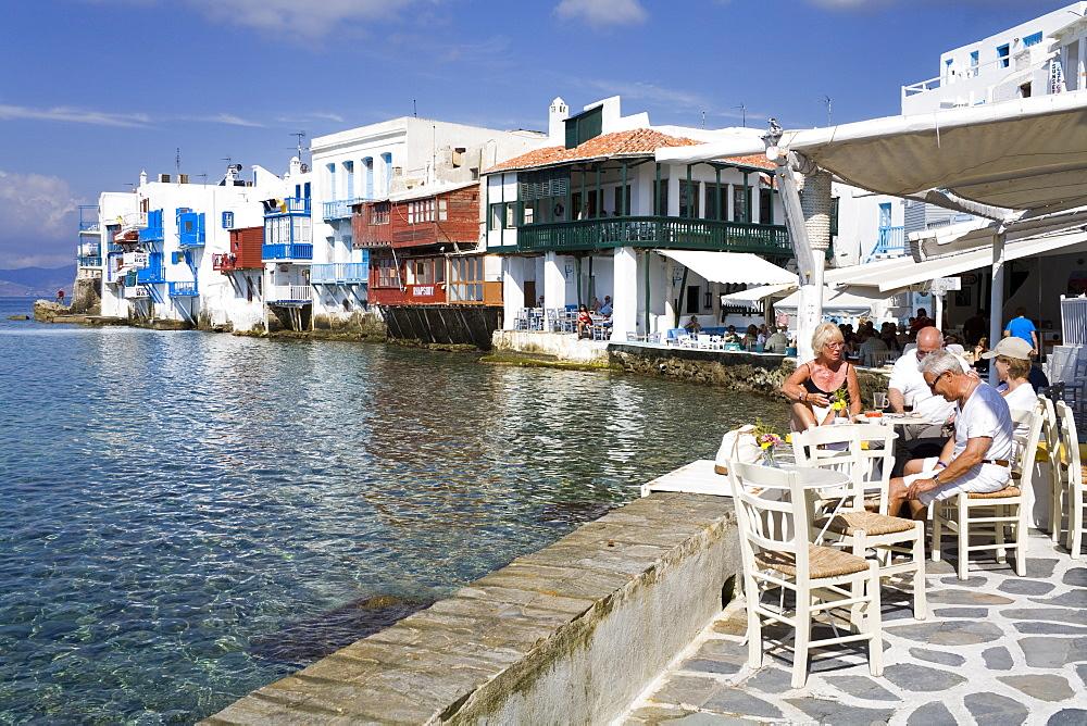 Little Venice in Mykonos Town, Island of Mykonos, Cyclades, Greek Islands, Greece, Europe