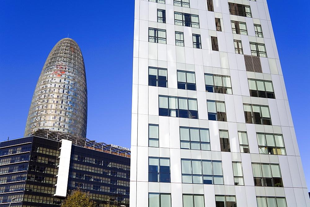 Torre Agbar skyscraper and Novotel Hotel on Avenue Diagonal, Barcelona, Catalonia, Spain, Europe