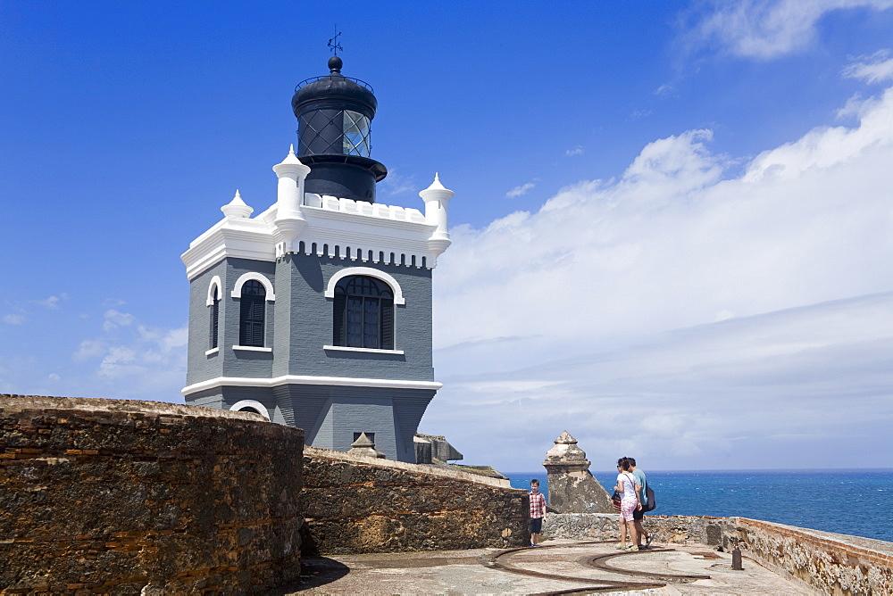 El Morro Lighthouse on Castillo San Felipe del Morro, Old City of San Juan, Puerto Rico Island, West Indies, United States of America, Central America