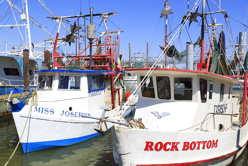 Fishing boats in Galveston Port, Texas, United States of America, North America