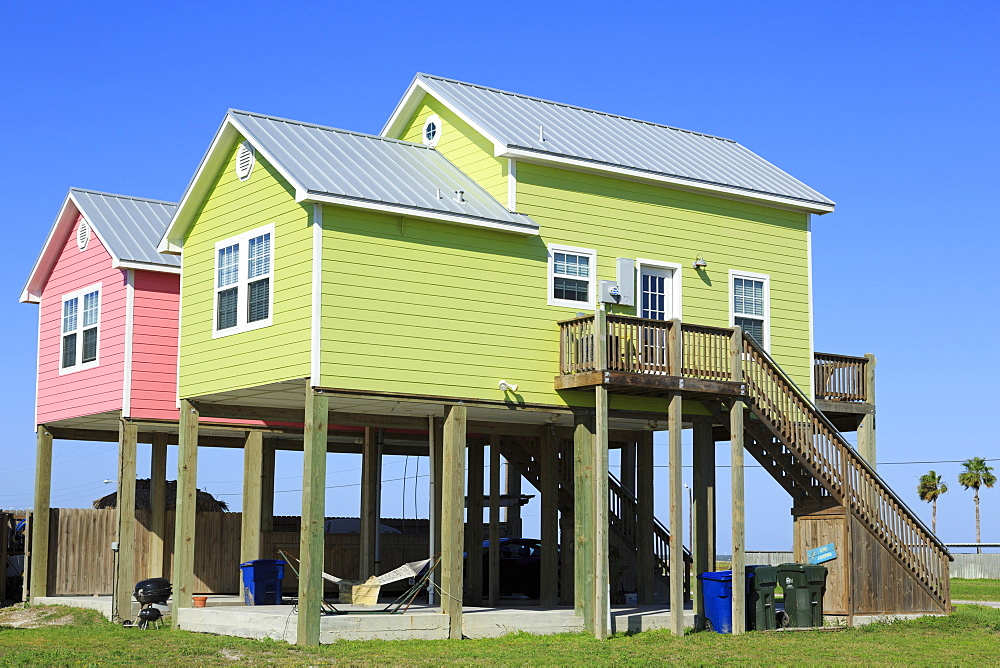 Beach houses in North Beach, Corpus Christi, Texas, United States of America, North America - 776-3511