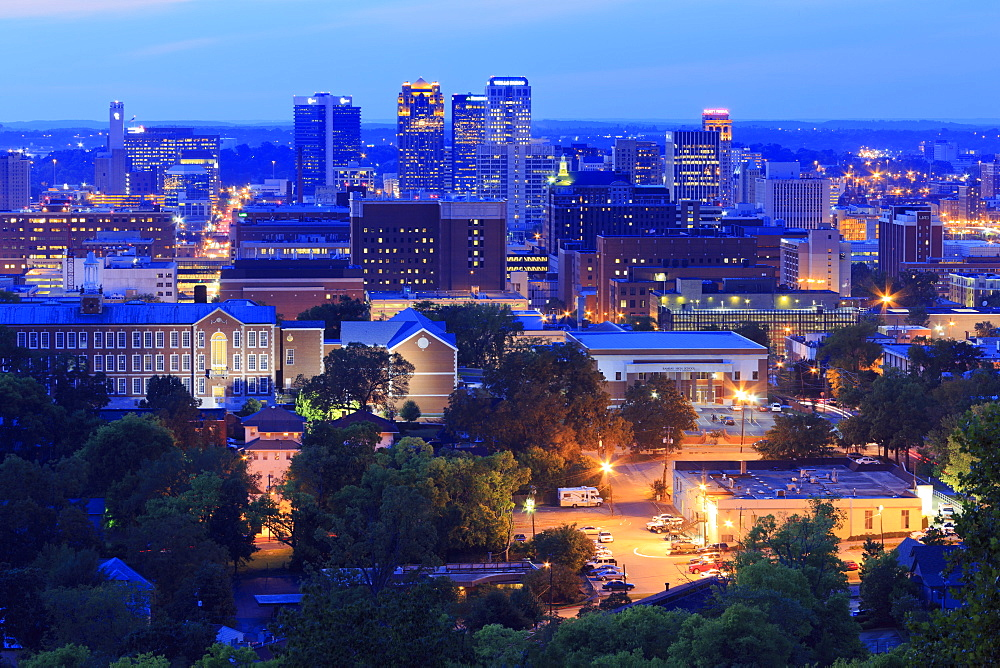 Birmingham skyline at twilight, Birmingham, Alabama, United States of America, North America