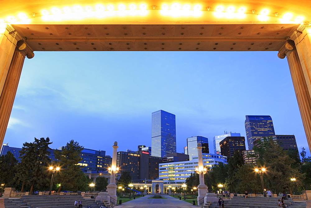 Civic Center Park and skyline, Denver, Colorado, United States of America, North America
