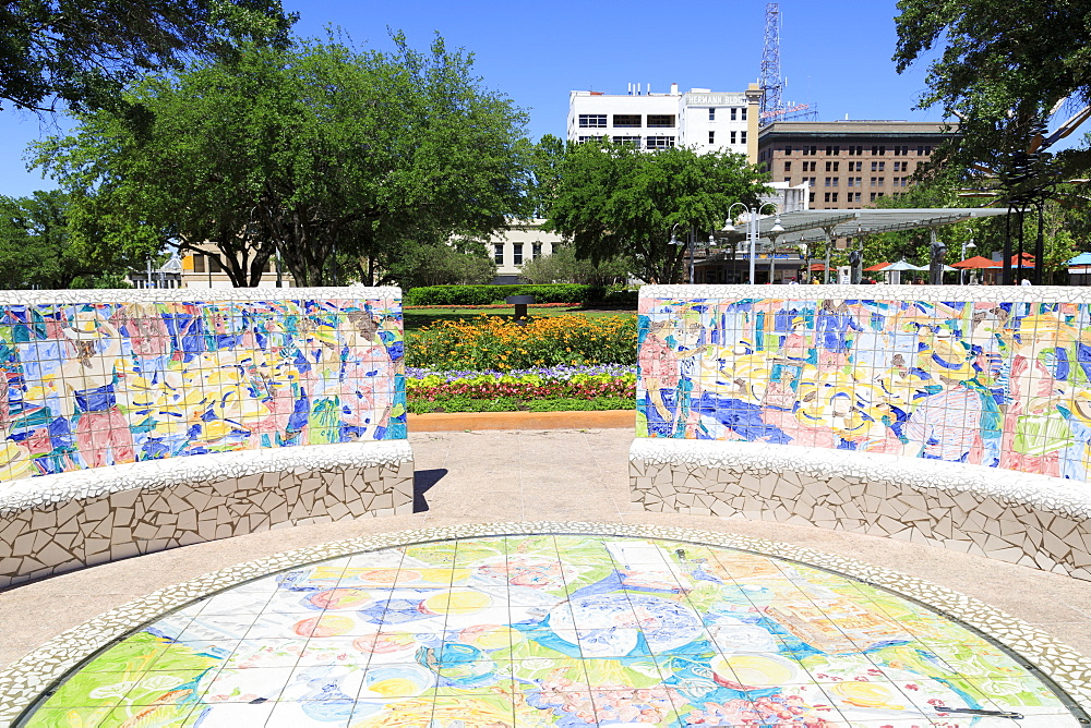 Tilework in Market Square Park, Houston, Texas, United States of America, North America