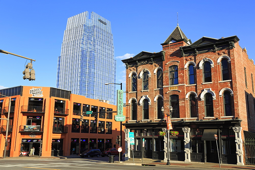 Pinnacle Tower and Broadway Street, Nashville, Tennessee, United States of America, North America