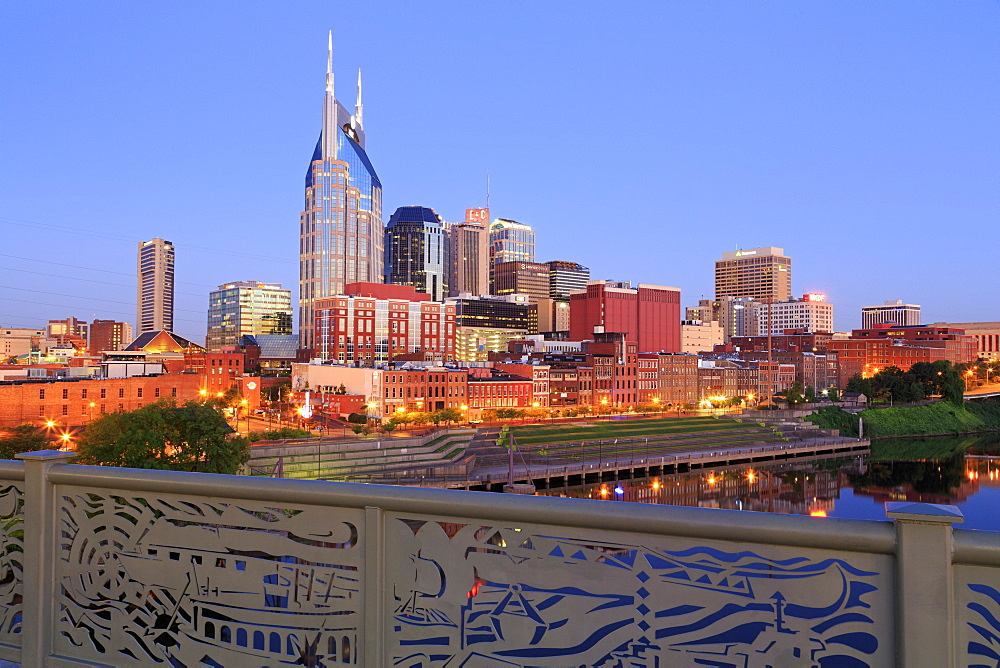 Nashville skyline and Shelby Pedestrian Bridge, Nashville, Tennessee, United States of America, North America