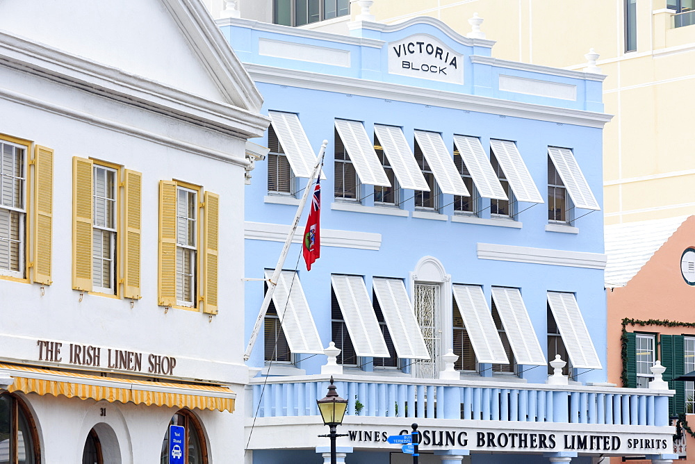 Victoria Block on Front Street in Hamilton City, Pembroke Parish, Bermuda, Central America