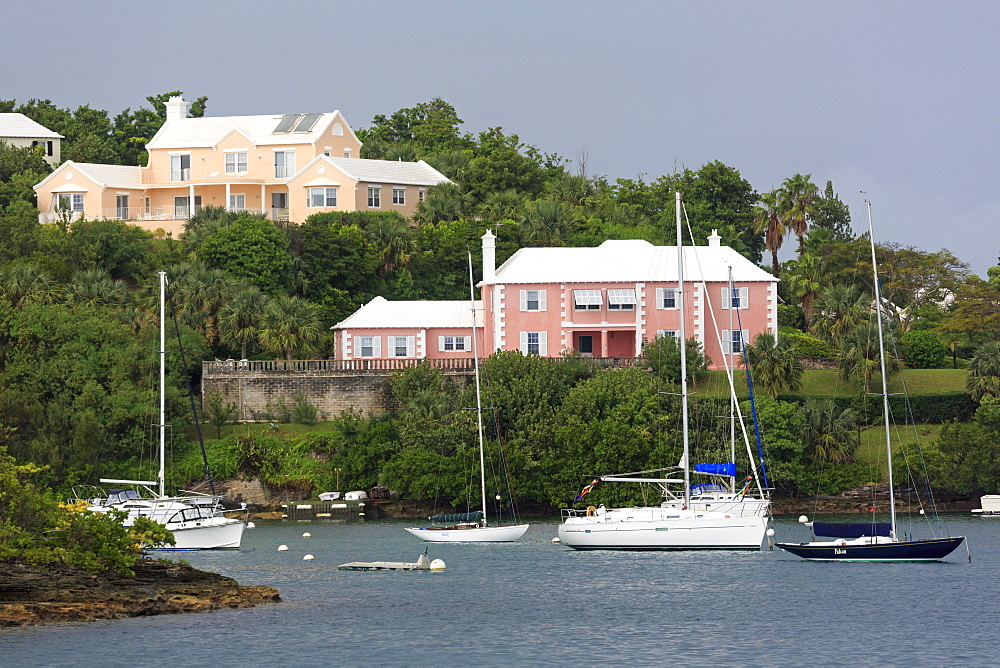 Houses in Pitts Bay, Hamilton City, Pembroke Parish, Bermuda, Central America