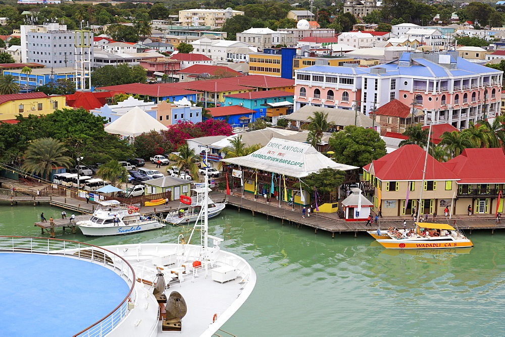 Cruise ship in St. John's Harbour, Antigua, Antigua and Barbuda, Leeward Islands, West Indies, Caribbean, Central America