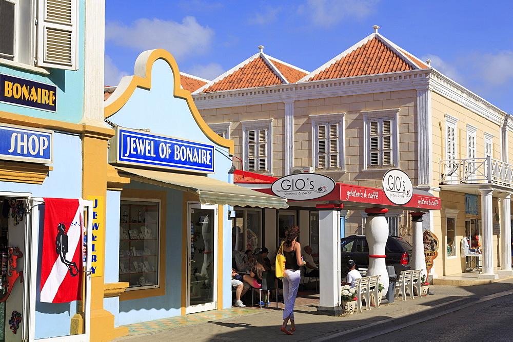 Stores on Kaya Grandi, Kralendijk, Bonaire, West Indies, Caribbean, Central America