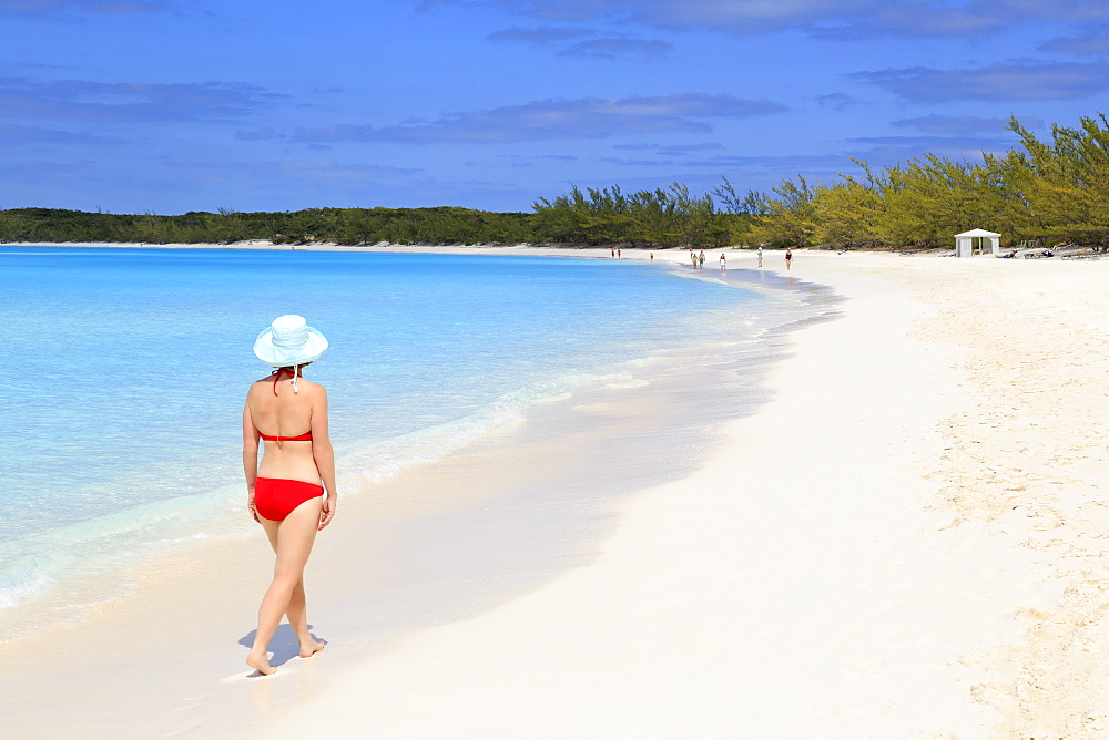 Woman on Half Moon Cay, Little San Salvador Island, Bahamas, West Indies, Central America