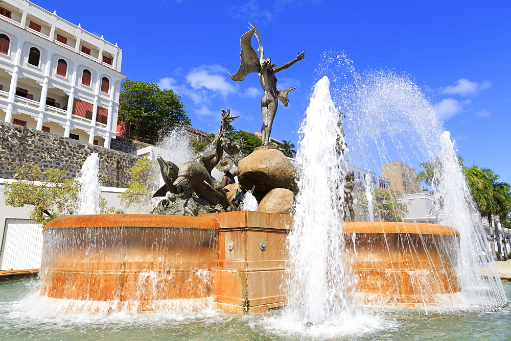 La Princesa Fountain in Old San Juan, Puerto Rico, Caribbean