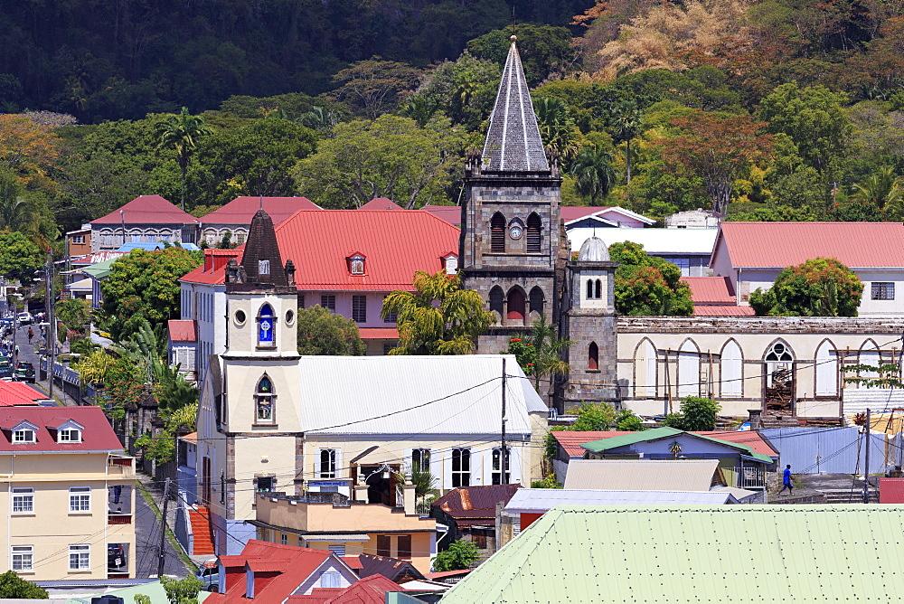 Churches in Roseau, Dominica, Windward Islands, West Indies, Caribbean, Central America