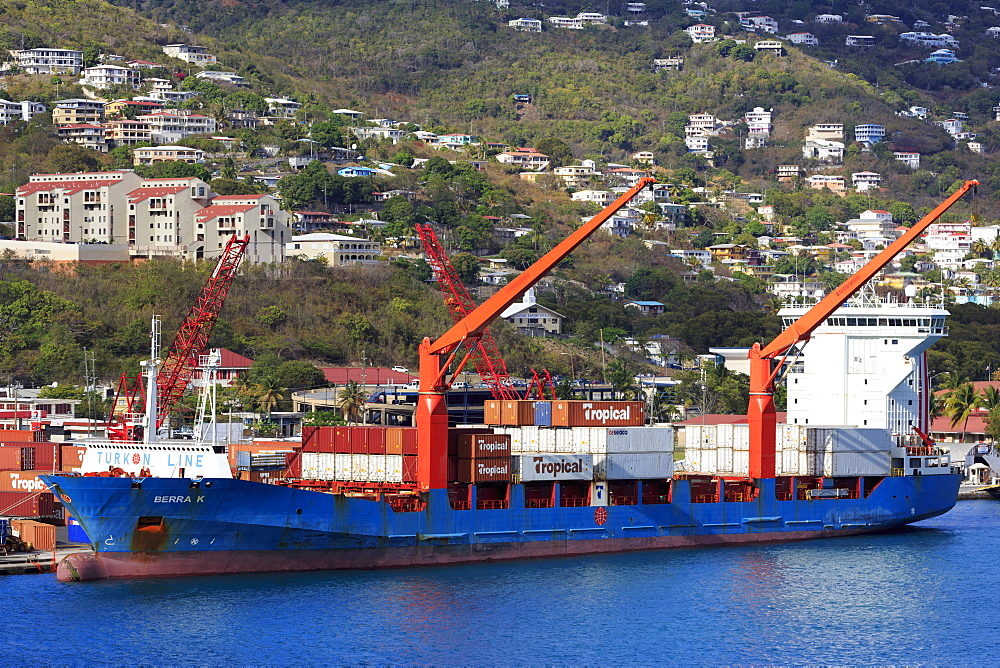 Container Port in Crown Bay, Charlotte Amalie, St. Thomas, United States Virgin Islands, West Indies, Caribbean, Central America