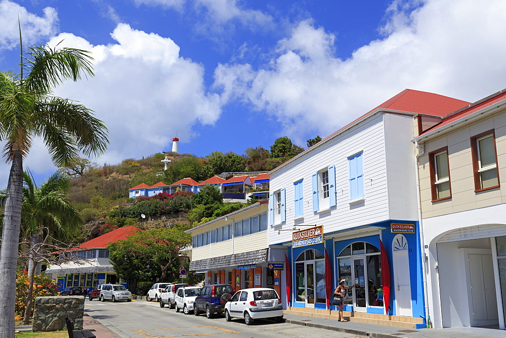 Republic Street in Gustavia, St. Barthelemy (St. Barts), Leeward Islands, West Indies, Caribbean, Central America
