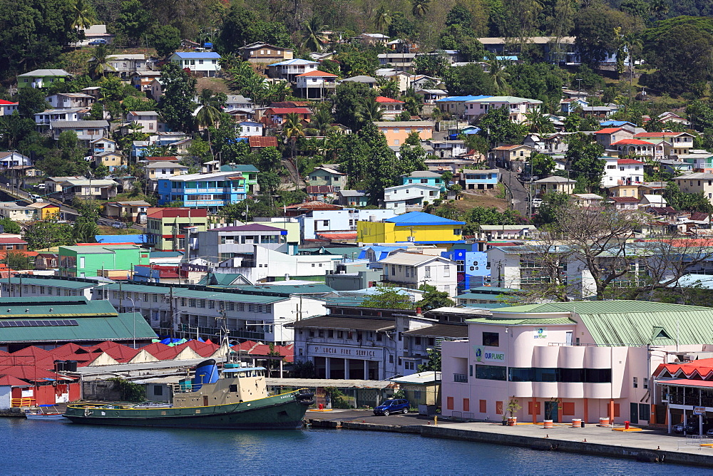 Docks in Castries Harbor, St. Lucia, Windward Islands, West Indies, Caribbean, Central America