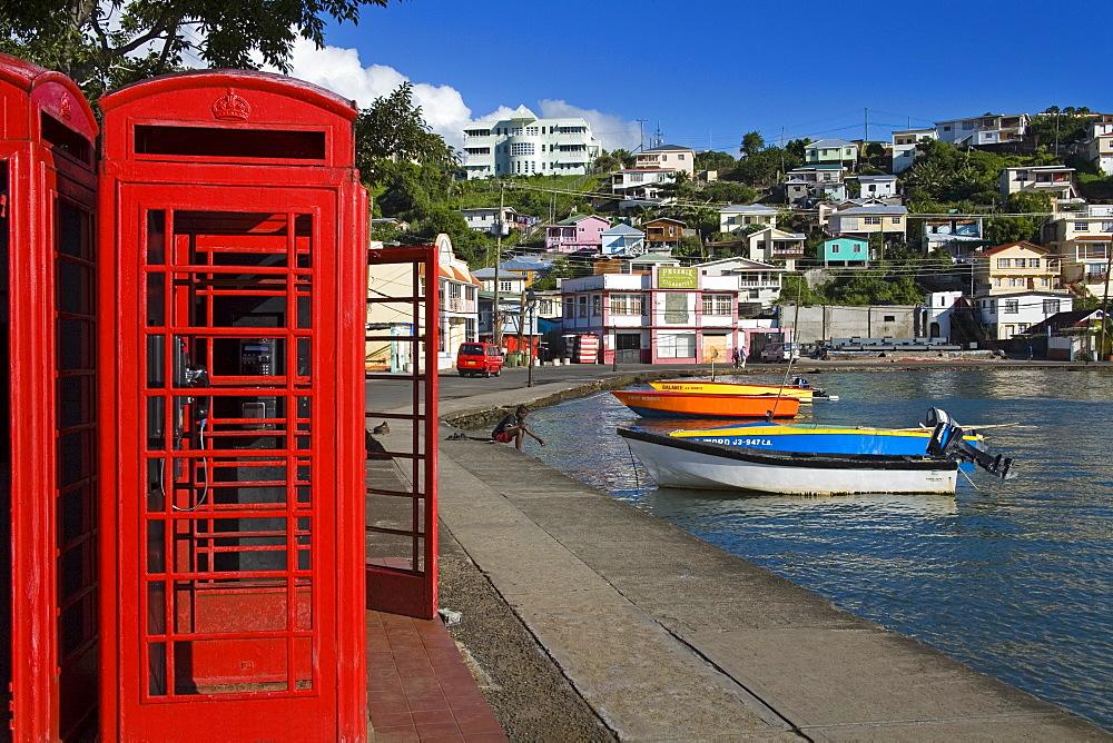 Phone box in Carenage Harbour, St. George's, Grenada, Windward Islands, Lesser Antilles, West Indies, Caribbean, Central America