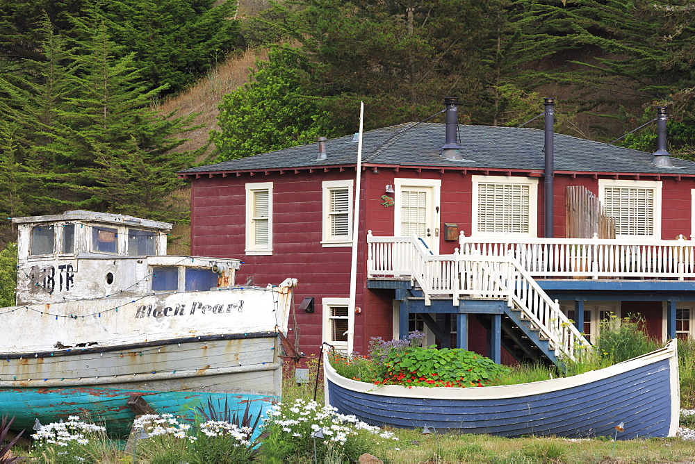 Old boat in Nick's Cove, Tomales Bay, California, United States of America, North America