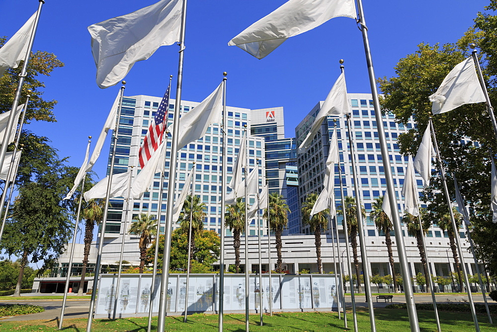 Flags in the Veteran's Memorial and Adobe Corporation, San Jose, California, United States of America, North America