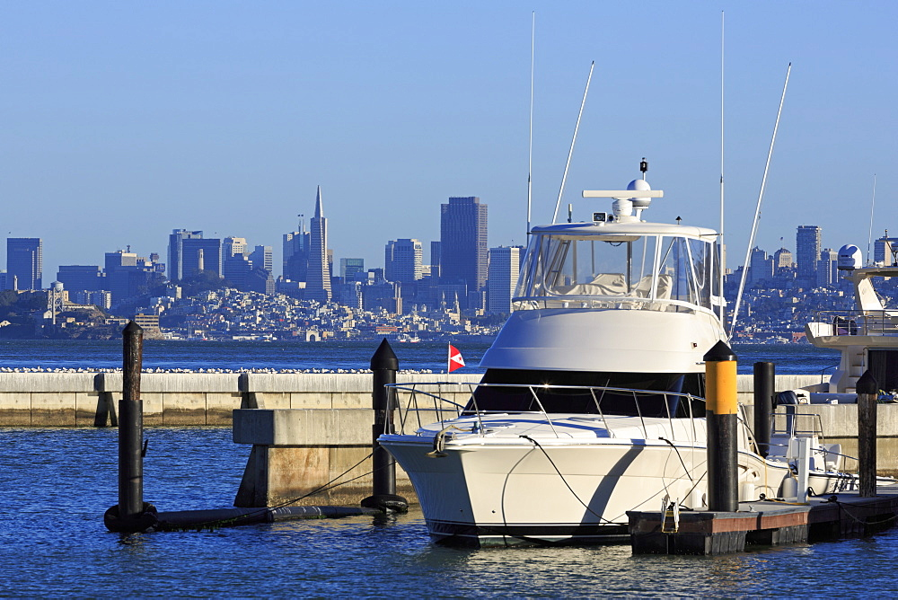 Marina and San Francisco skyline, Tiburon, Marin County, California, United States of America, North America
