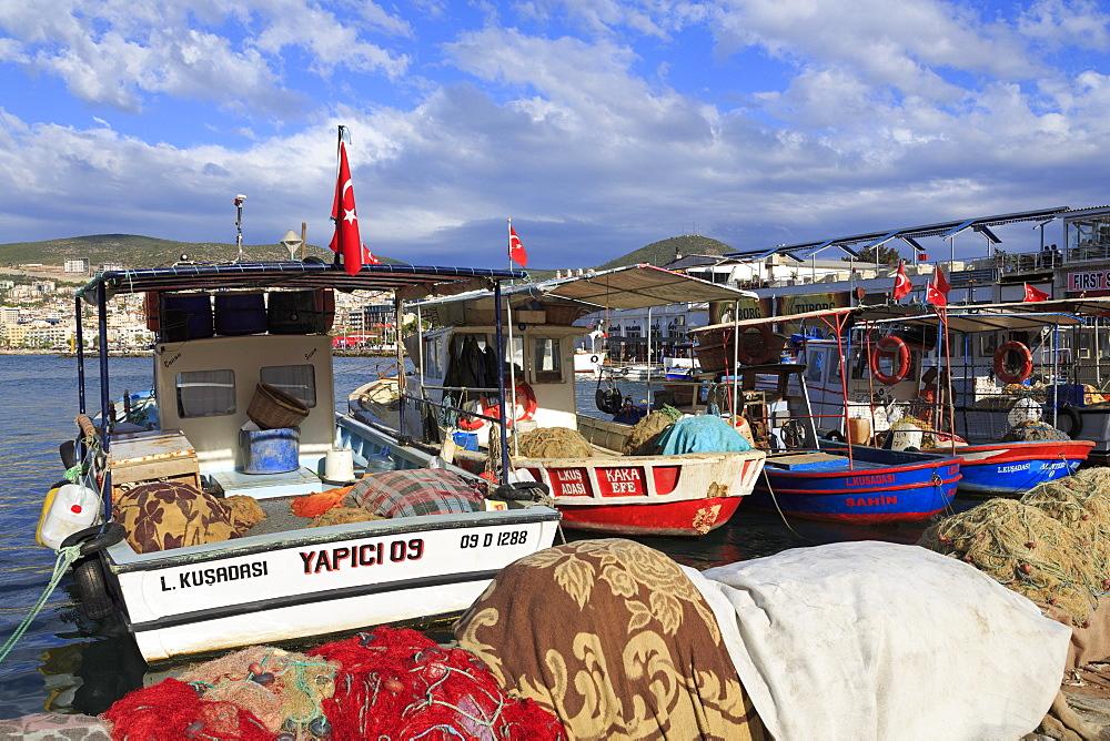Fishing boats in Kusadasi, Aydin Province, Anatolia, Turkey, Asia Minor, Eurasia