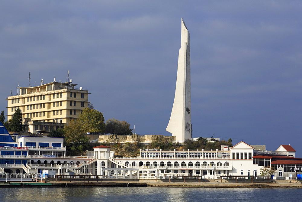 Hero-City Obelisk on Cape Khrustainy, Artillery Harbour, Sevastopol, Crimea, Ukraine, Europe