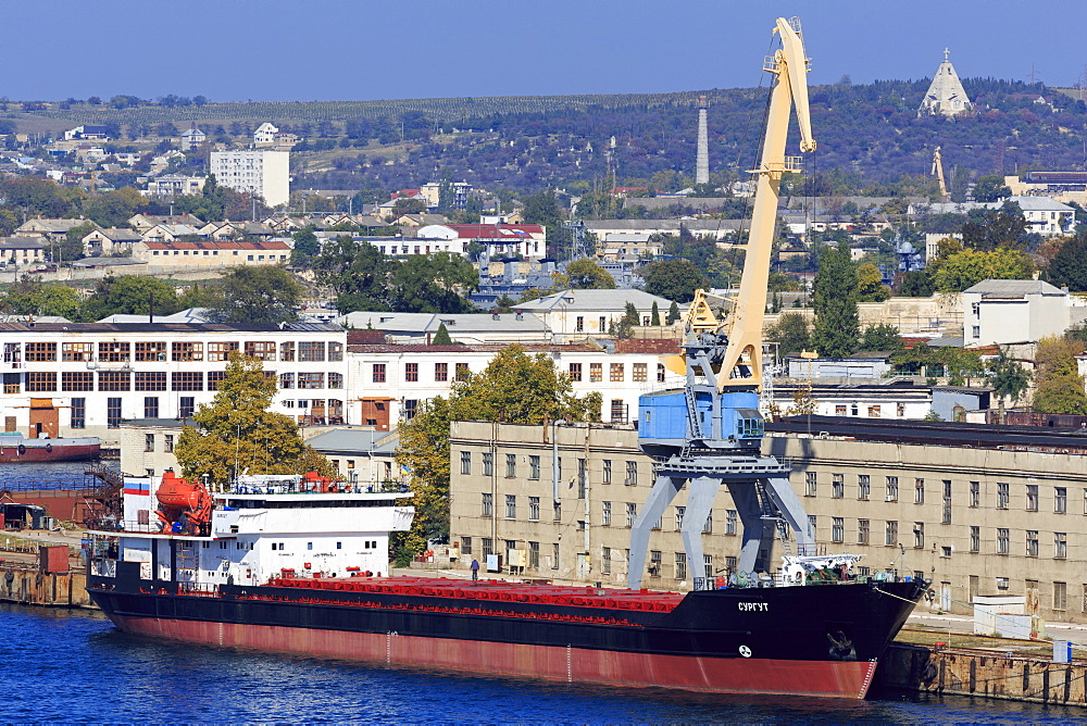 Cargo ship in South Harbour, Sevastopol, Crimea, Ukraine, Europe