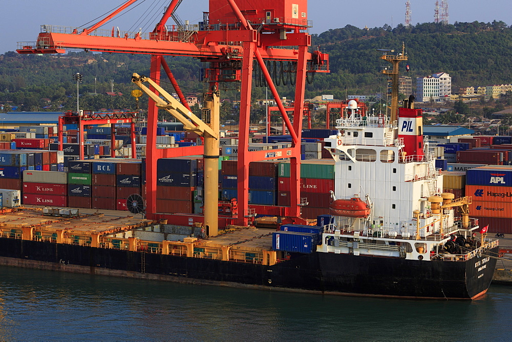 Container ship in Sihanoukville Port, Sihanouk Province, Cambodia, Indochina, Southeast Asia, Asia
