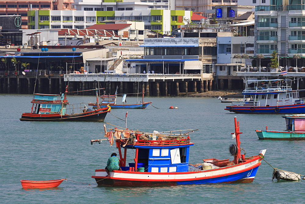 Fishing boats in Pattaya City, Thailand, Southeast Asia, Asia