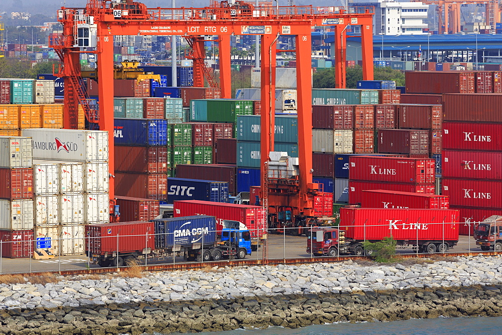 Containers in Laem Chabang Port, Laem Chabang City, Thailand, Southeast Asia, Asia