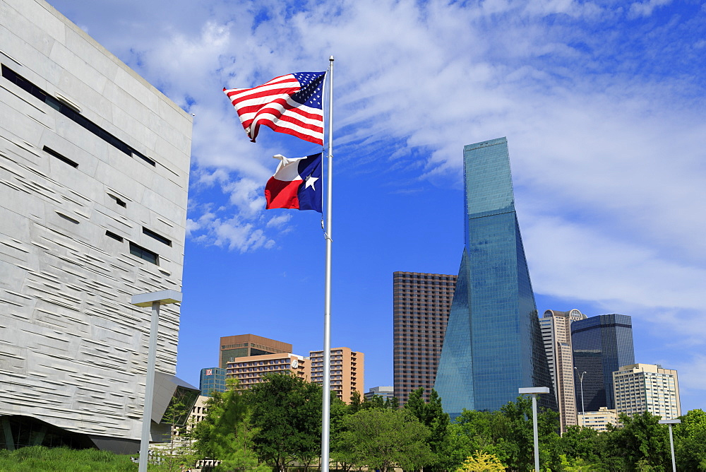 Perot Museum and Fountain Place Tower, Dallas, Texas, United States of America, North America - 776-4697
