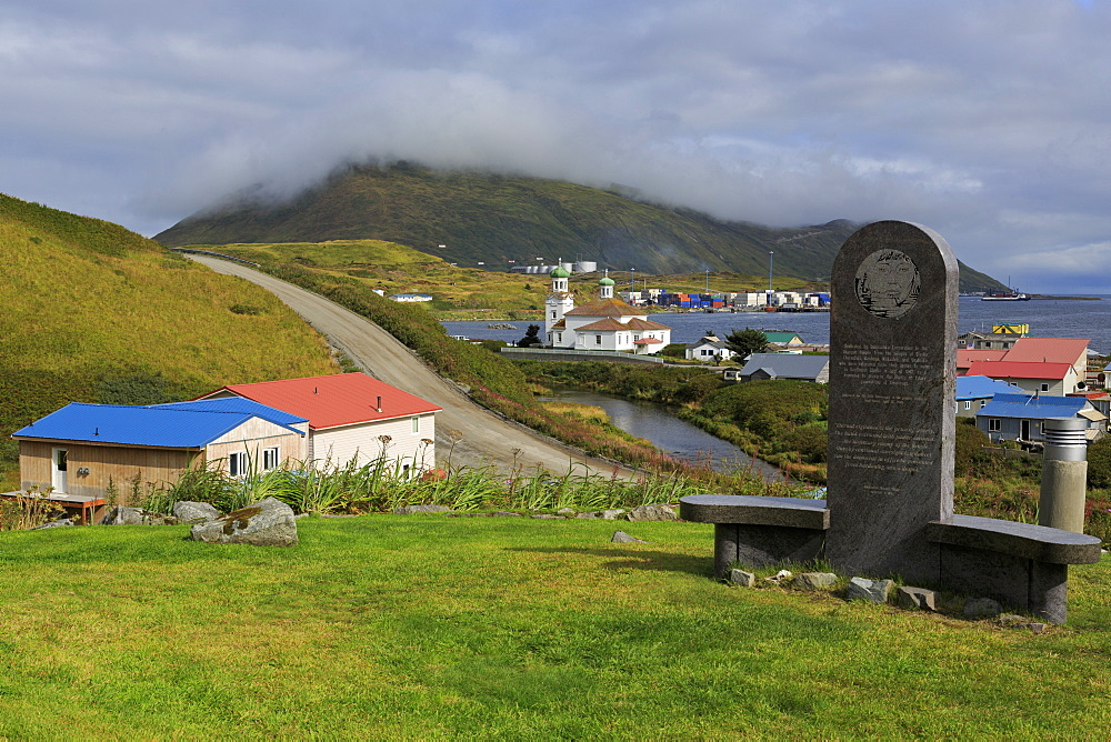 Monument to Unangan People, Unalaska Island, Aleutian Islands, Alaska, United States of America, North America