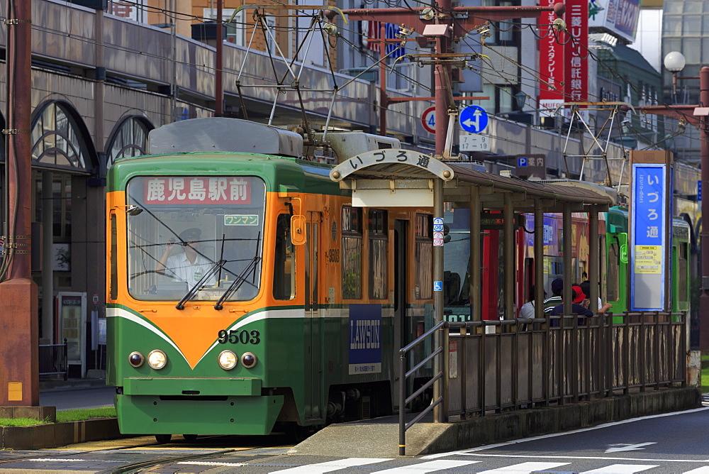 Tram, Izuro Street, Kagoshima City, Kyushu Island, Japan, Asia