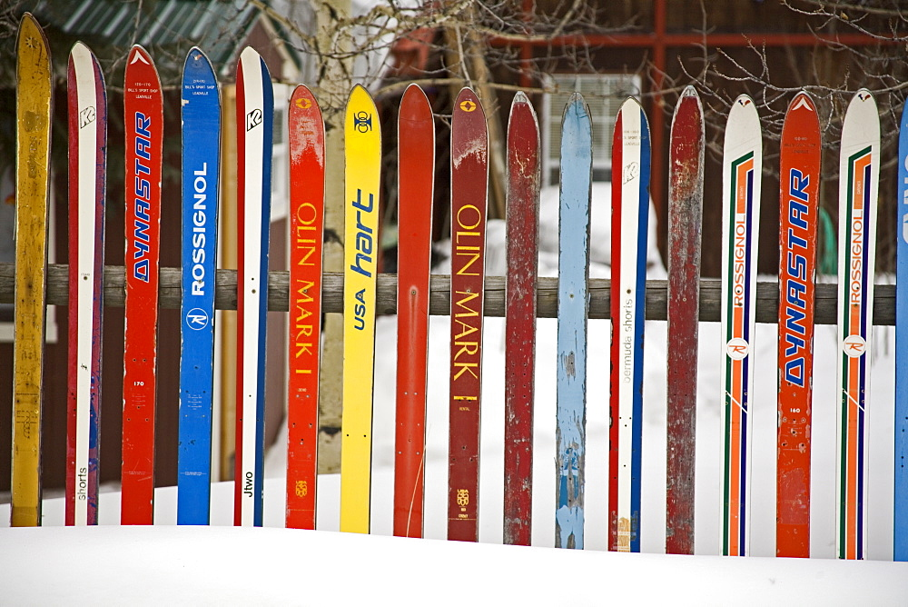 Fence made from skis, City of Leadville. Rocky Mountains, Colorado, United States of America, North America - 776-477