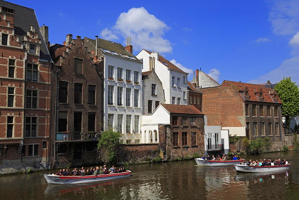 Leie River, Ghent, East Flanders, Belgium, Europe