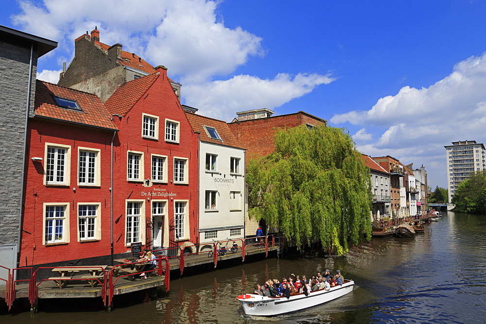 Restaurant on Leie River, Ghent, East Flanders, Belgium, Europe - 776-5015