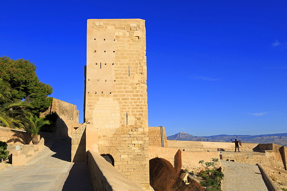 Santa Caterina Tower, Santa Barbara Castle, Alicante City, Spain, Europe