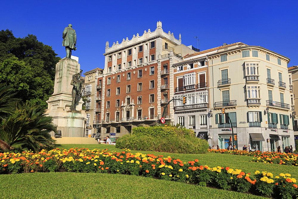 Monument, Alameda Principal Street, Malaga City, Andalusia, Spain, Europe