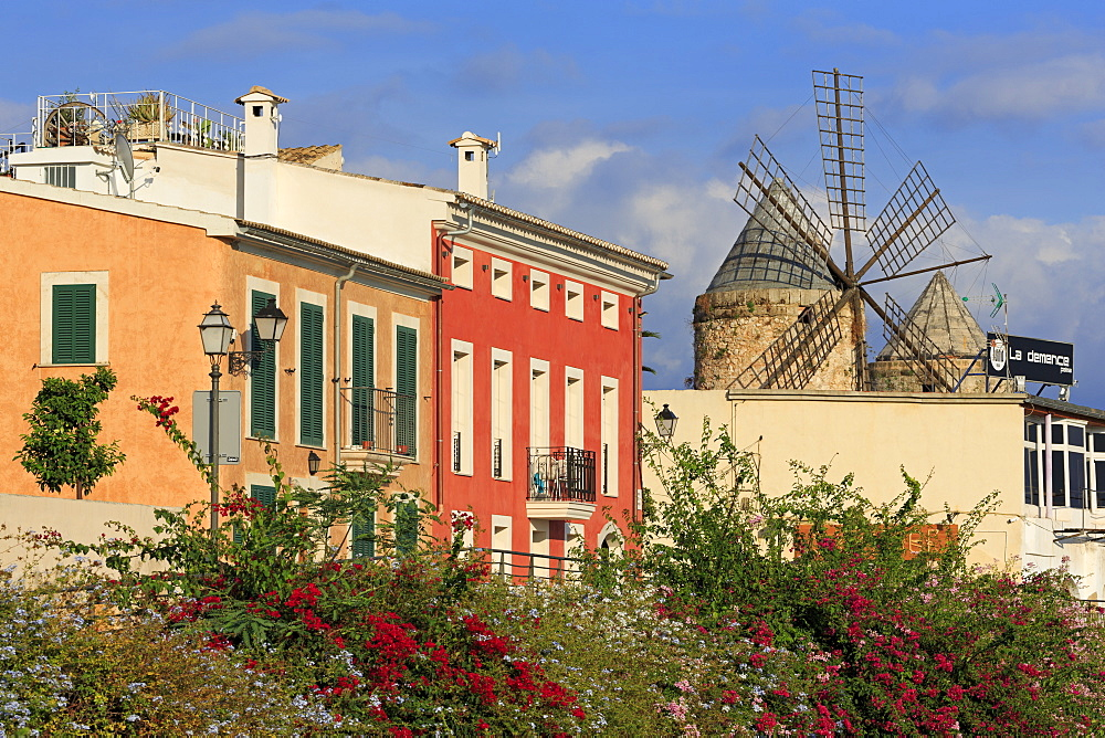 Windmill in Barrio Es Jonquet, Palma De Mallorca, Majorca, Balearic Islands, Spain, Mediterranean, Europe