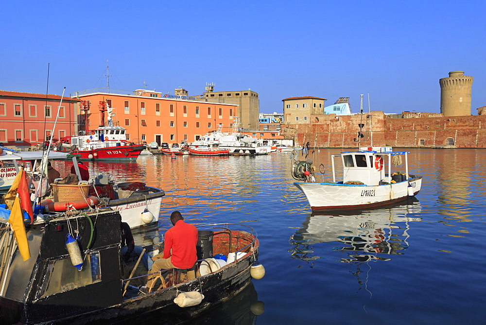 Fishing boats in Darsena Vecchia, Livorno, Tuscany, Italy, Europe