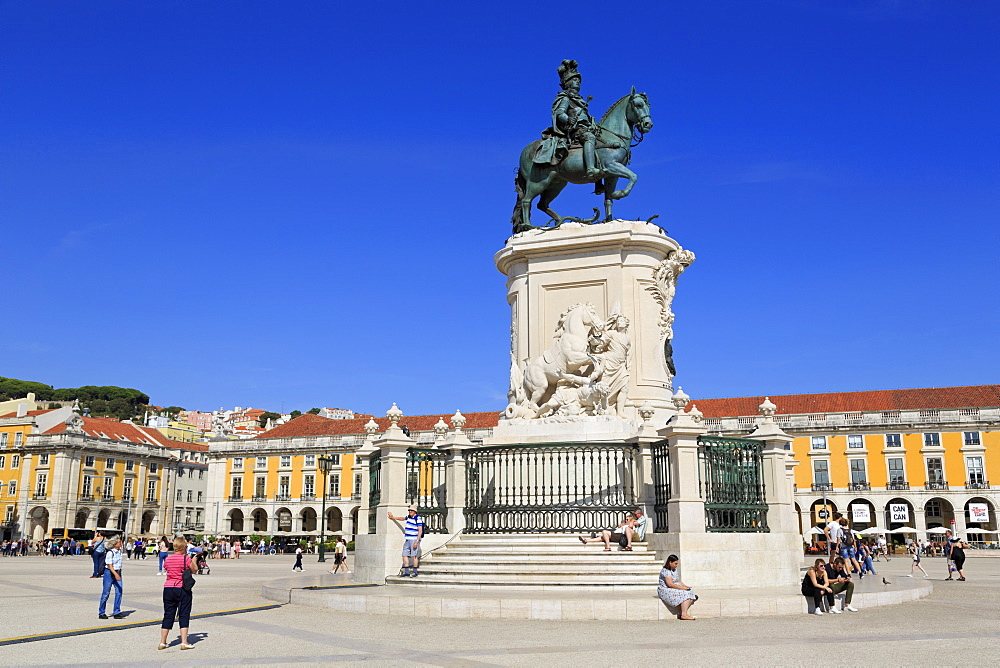 King Jose Monument, Praca do Comercia, Lisbon, Portugal, Europe