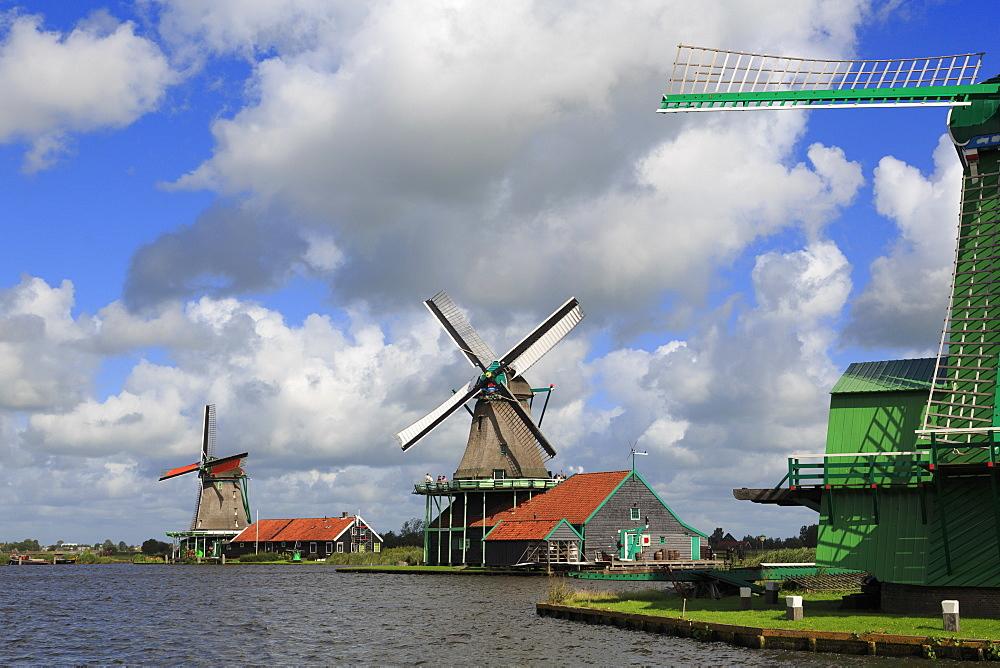 Windmills, Zaanse Schans Historical Village, Zaandam, North Holland, Netherlands, Europe