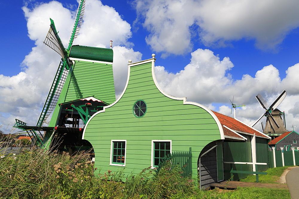 Windmills, Zaanse Schans Historical Village, Zaandam, North Holland, Netherlands, Europe - 776-5309