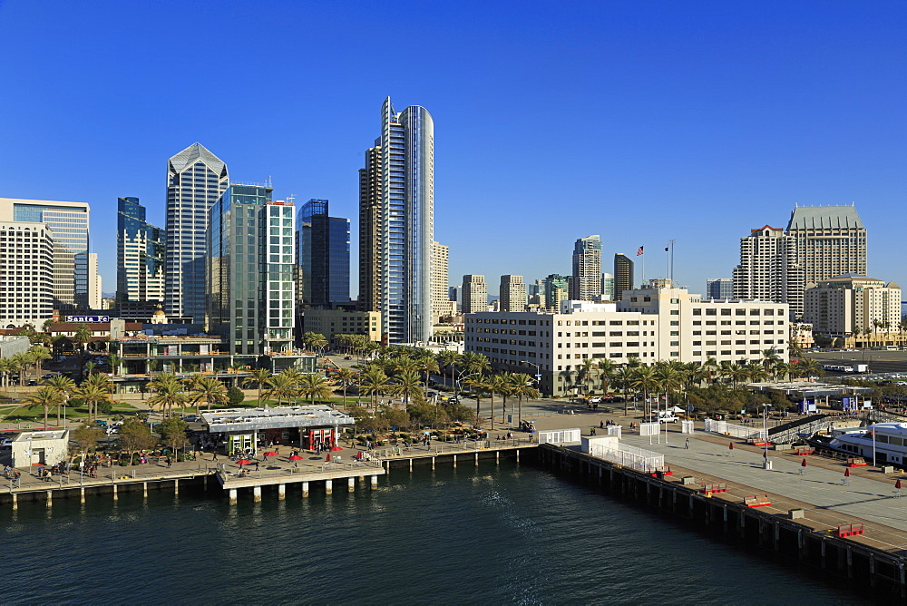 Skyscrapers on Harbor Drive, San Diego, California, United States of America, North America