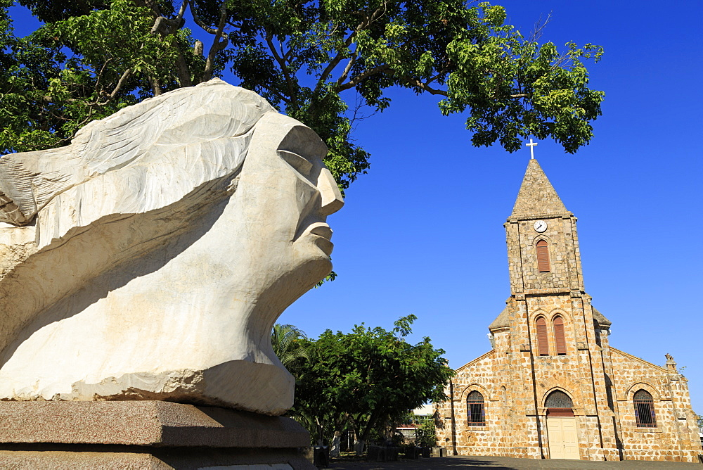Sculpture by Francisco Martinez and Cathedral, Puntarenas City, Costa Rica, Central America